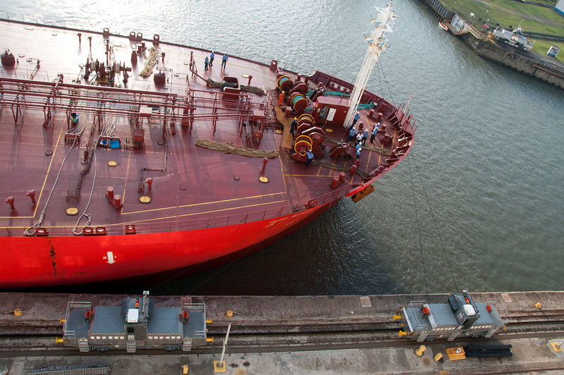 • Panama Canal<br /> • Tanker entering Gatun Lock.  The two objects in the foreground are Mule Electric Locomotives that guide the ships through the locks.