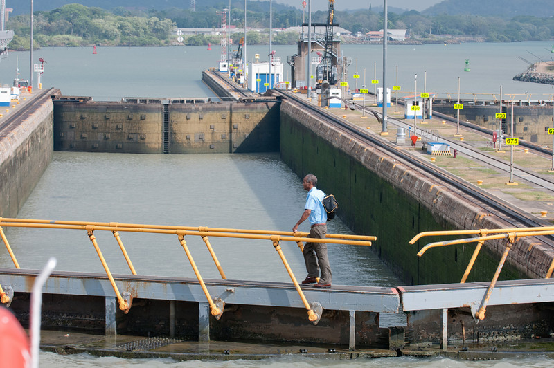 • Panama Canal<br /> • He is on the way home crossing one of the lock's gates
