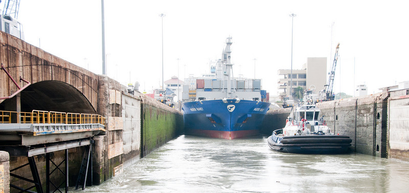 • Panama Canal<br /> • One of open locks where there is a container ship that is exiting