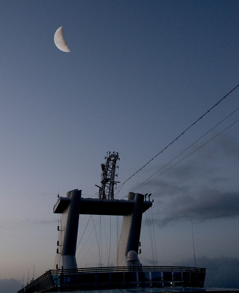 • Moon over the Coral Princess<br /> • I have to admit that I enlarged the moon on this photo