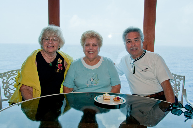 * Coral Princess<br /> * Gertrude, Sandy and Walter at the Horizon Court Buffet lunch. I wonder who is going to have those 2 desserts?