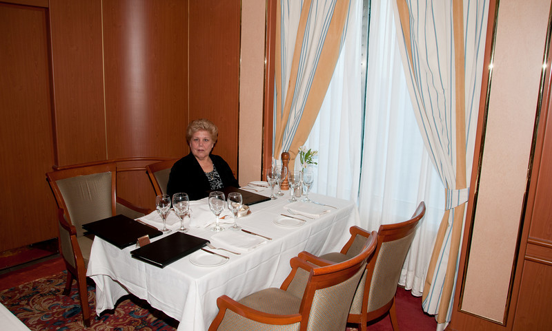 * Coral Princess<br /> * Sandy at our table in the Provence dining room.  We sat in the corner with a window and was out of the main traffic.