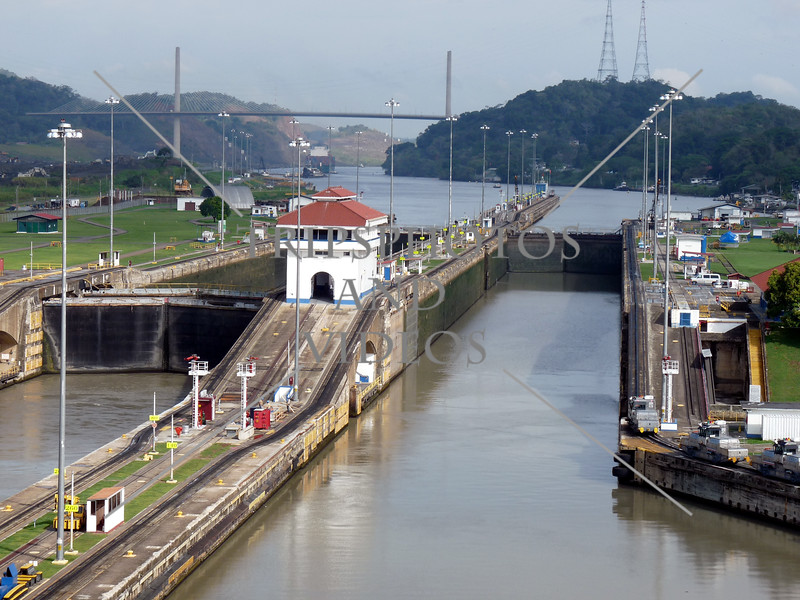 Panama Canal control house, lock chamber, and gates.