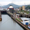 Panama Canal lock chambers and entry and exit lanes.