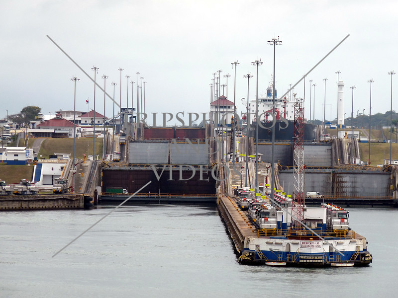 The entry and exit gates of the Gatun lock in Panama Canal.