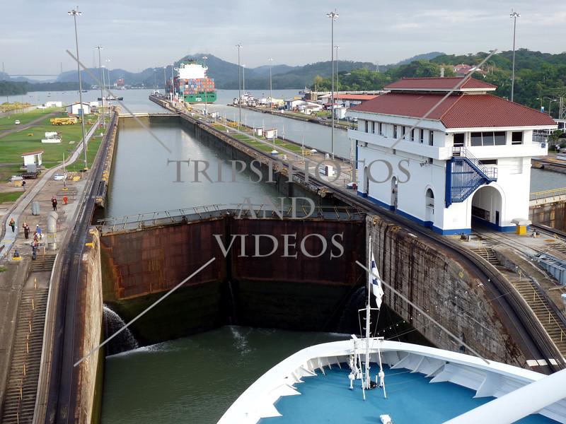 Cruise ship transits Panama Canal.