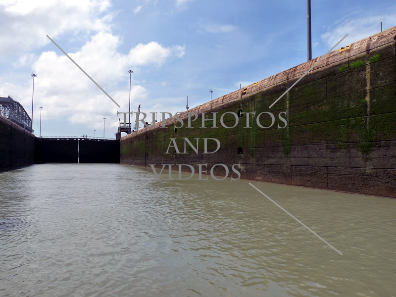 Lock chamber being flooded at the Panama Canal.
