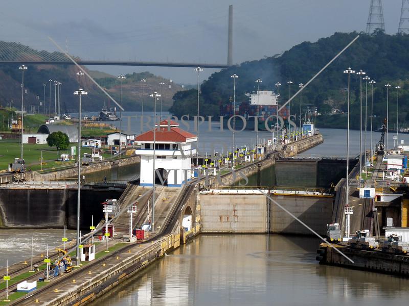 Panama Canal control house, transit lanes, lock gates and chambers.