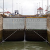 Panama Canal lock chamber being flooded during a ship transit.