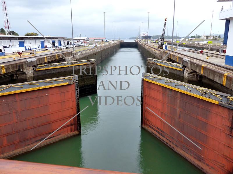 Panama Canal Lock Chamber gates.