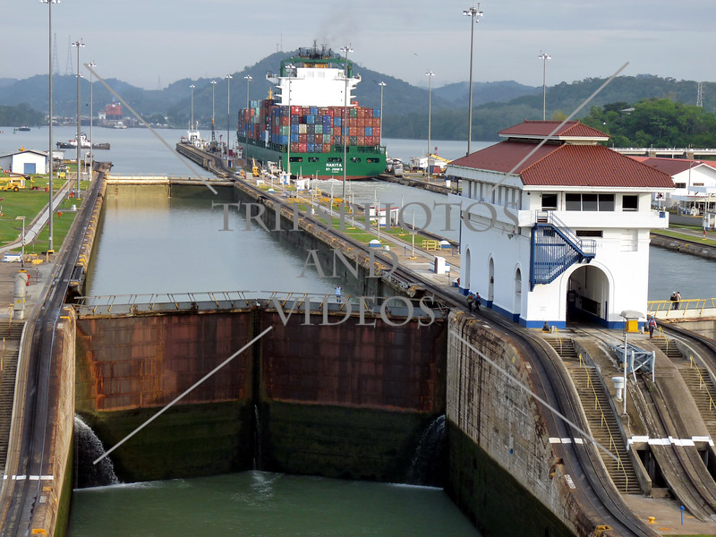 Panama Canal control house, transit lanes and lock chambers.
