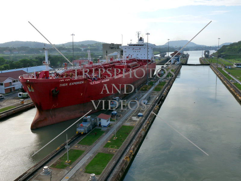 Cargo ship transits the Panama Canal.