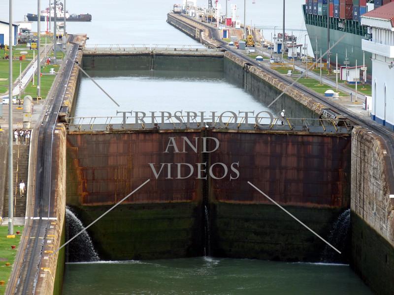 Panama Canal Lock Chamber and gates.