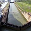 Panama Canal transit lanes, gates, and lock chambers.