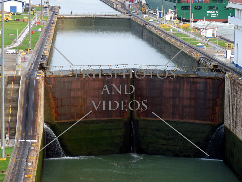 Panama Canal transit lane and lock chambers.