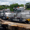Locomotives or mules standing by in Panama Canal.