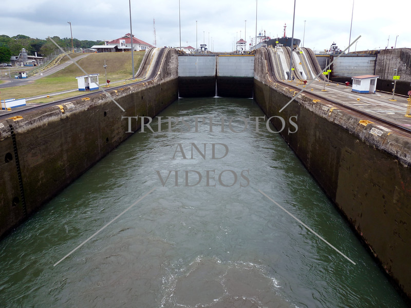 Panama Canal lock chamber being flooded.