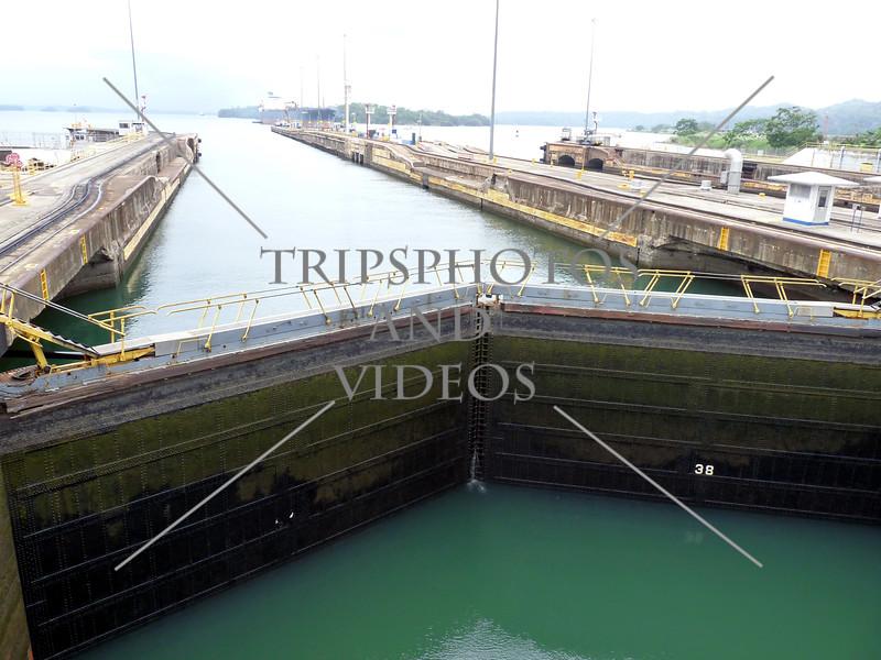 Panama Canal transit lane, lock gates, and chamber.