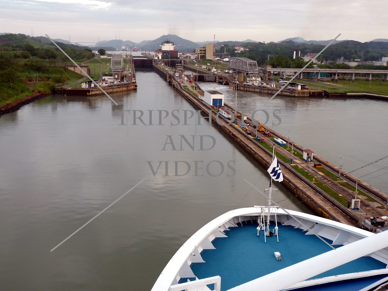 Cruise ship approaches to transit the Panama Canal.