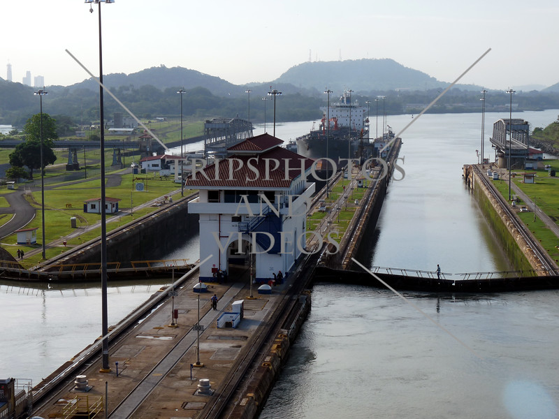 Panama Canal control house, transit lanes and lock chambers.