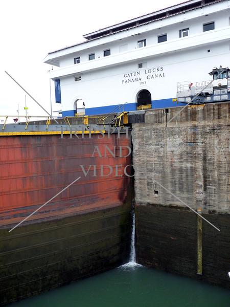 Panama Canal Gatun lock gates and control house.