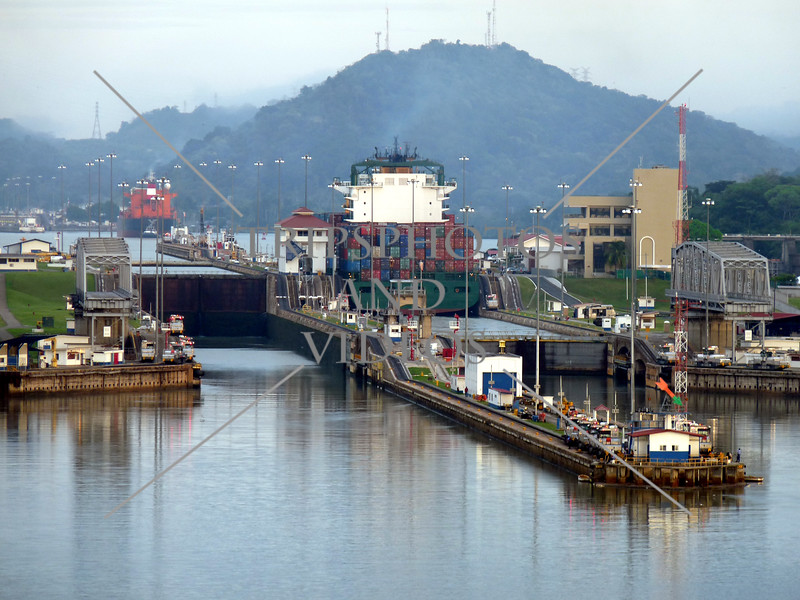 Panama Canal transit entry and exit lanes.