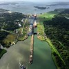 Helicopter view of Carnival Pride entering Panama Canal