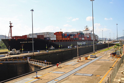 Container Ship In First Lock