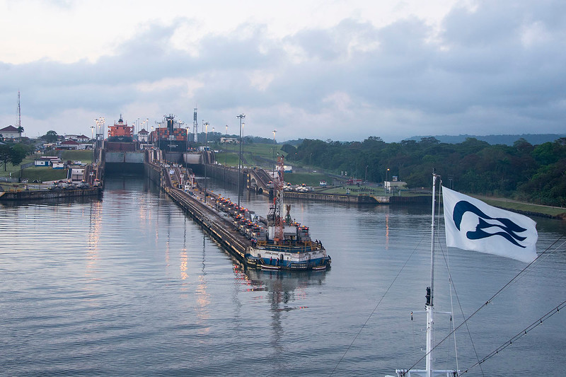 Entering Gatun Locks at dawn