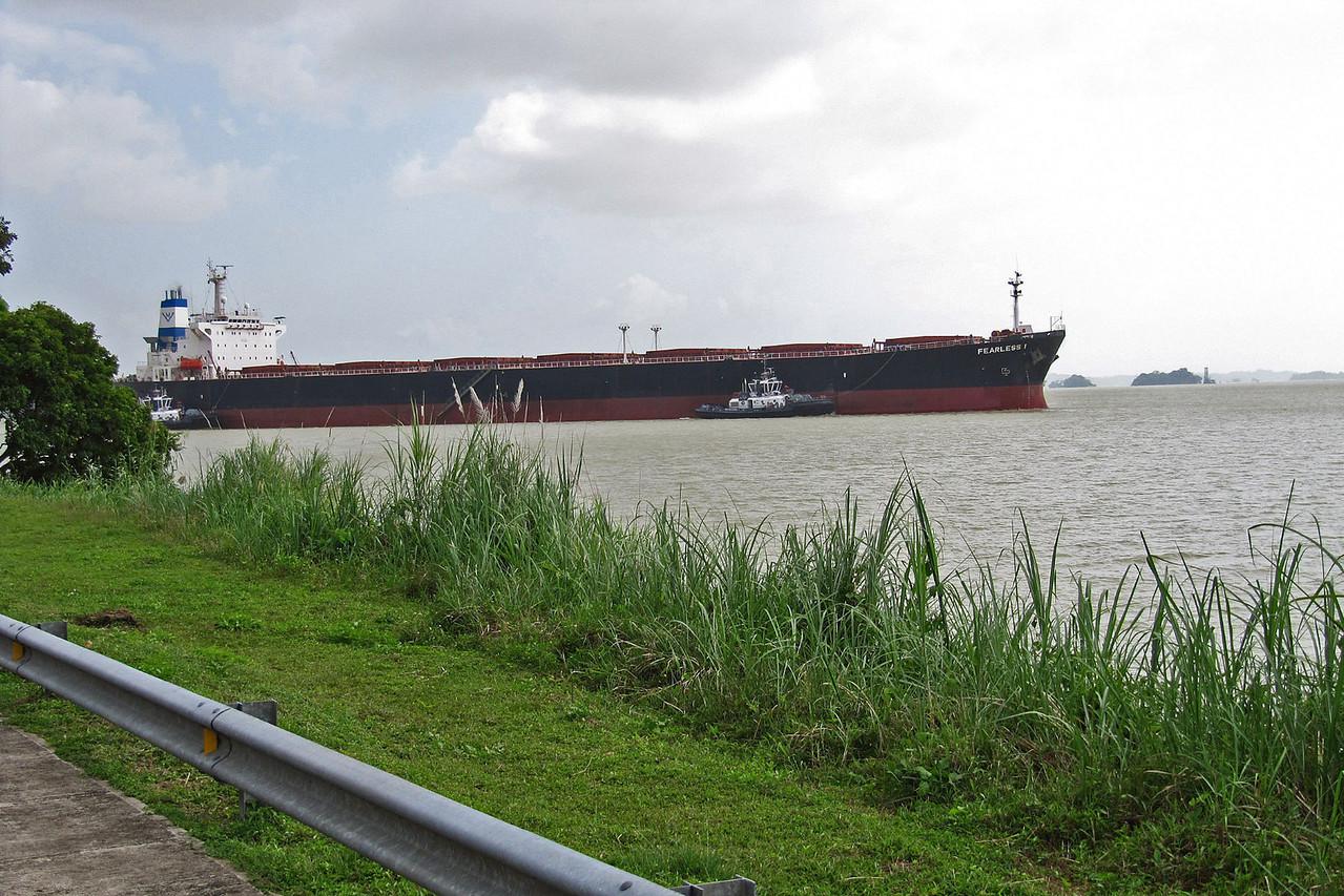 Dry Cargo Ship Waiting Entry into Gatun Locks - Atlantic Entrance