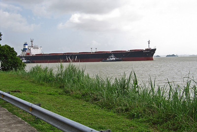 Dry Cargo Ship Waiting Entry into Gatun Locks - Atlantic Entrance