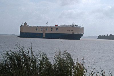 Automoble Carrier Waits  at Gatun Locks - Atlantic Entrance