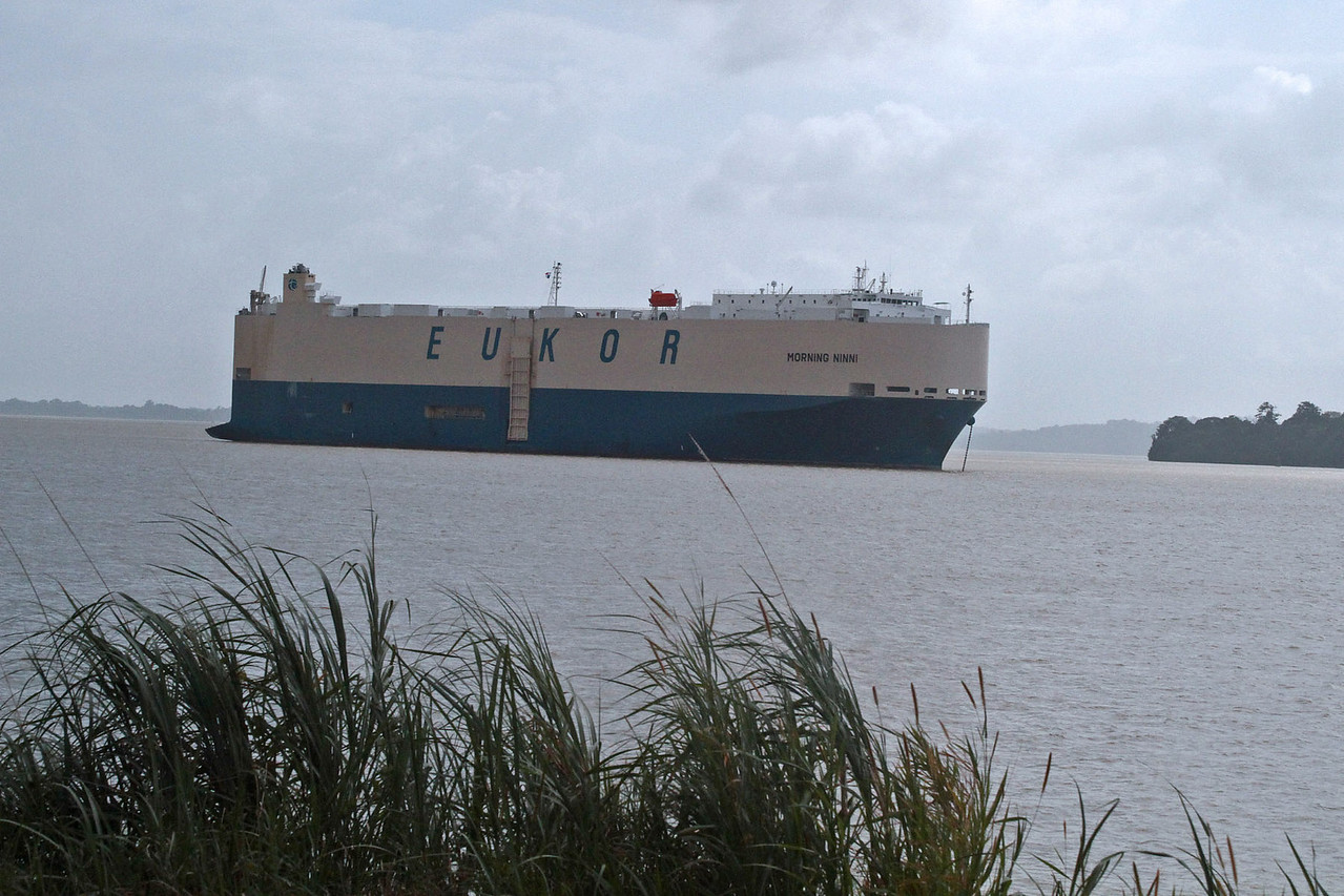 Automoble Carrier Waits  at Gatun Locks - Atlantic Entrance