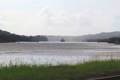 Ship Transiting Canal at Gamboa