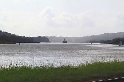 Ship Transiting Canal at Gamboa