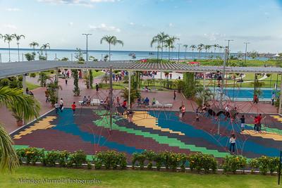 Panama City, Panama  park  facing Bay of Panama Pacific