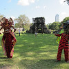 """Traditional """"devil dancers"""" on the site of Old Panama City."""