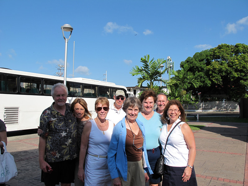 Waiting to board the bus on the first day (from the left):  Dan, Doreen, Kathie, Gil, Joan, Susan, Chet, and Diana.