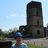 Susan with the ruined tower of the cathedral in Old Panama City.