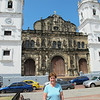 Susan in front of the old cathedral in Casco Viejo.