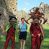 Susan with the devil dancers.  The masks are supposed to represent the Spanish colonizers.