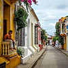 A quiet side street in the Cartagena historic district.