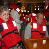 Roseanne and Fred in life vest drill