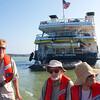Panama Canal: Zodiac leaving Sea Lion, x driving