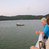 Panama Canal: Pilot boat waiting, Gabriele and Kate on deck