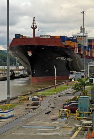 Panama Canal - Container vessel in Miraflores Locks