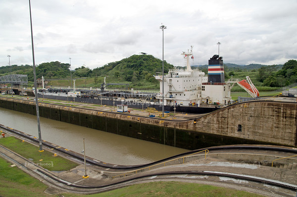 Large vessel leaving the Panama Canal through the Miraflores Locks, Panama City, Panama