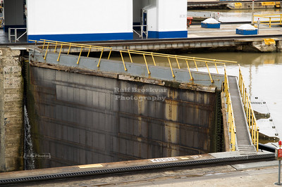 Closed gate for the upper chamber of the Miraflores Locks, Panama Canal, Panama City, Panama