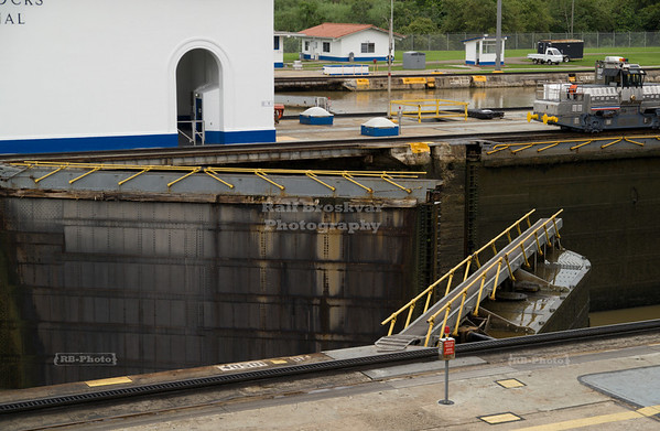 Opening of the gate - Miraflores Locks, Panama Canal, Panama City, Panama