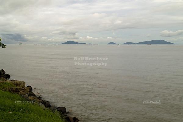 Amador Causeway, Panama City, Panama - Ships at the entrance to the Panama Canal